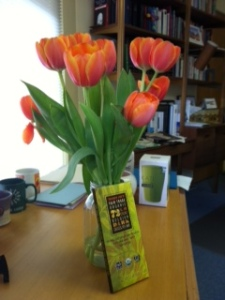 The gifts of tulip and chocolate.